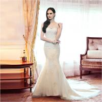 Quality Girls sexy Mermaid Backless Sweetheart Lace Wedding Dress with chapel train for sale