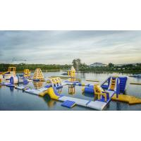 Quality Huge Inflatable Floating Aqua Park Blue , Yellow And White Color EN15649 Standard for sale