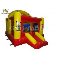 China Fire Retardant Red Inflatable Castle Trampoline With Slide For Children Party Rental on sale