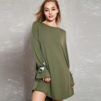 Wholesale Latest Sexy Olive Tie Sleeve Open Back Tunic Casual Dress For Fashion Women from china suppliers