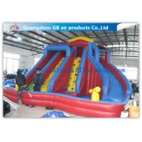 China Exciting 3 Lanes Backyard Inflatable Water Slides With Swimming Pool on sale
