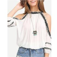 Wholesale Stylish Chiffon Women Blouse With Cold Shoulder from china suppliers
