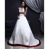 Wholesale White Elegant Embroidered around the neck Wedding Dresses with Open back , Red Edge from china suppliers