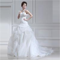 Wholesale Long trail Tulle halter ruffled One Shoulder Wedding Gowns with Lotus Leaf Edge from china suppliers