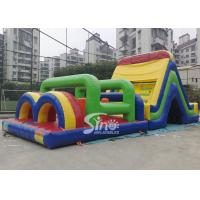 Wholesale Outdoor big rainbow kids bounce inflatable obstacle course for commercial use from china suppliers