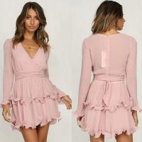 Wholesale Fashion women Long Sleeve V neck Pink Vintage Dress from china suppliers
