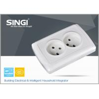 Wholesale Europe standard 16A 250V two gang electric wall socket used in the living room from china suppliers