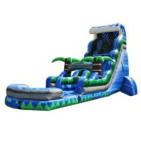 China Blue Inflatable Swimming Pool With Slide , Kids Blow Up Water Slide Double Stitching on sale
