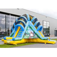China Double Lane Valcano Jungle Large Inflatable Slides With Climb on sale