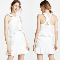 Wholesale Women Clothing Latest White Ruffle Shoulder Dress Summer from china suppliers