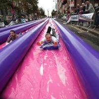 Wholesale 500ft Exciting Big Inflatable Slides , 3 Lane Long Water City Slide from china suppliers