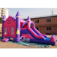 Buy cheap 4in1 pink kids party inflatable princess bounce house with slide from Guangzhou from wholesalers