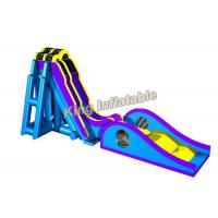 Wholesale Blue / Yellow Inflatable Water Slide Games Commercial 12 * 4m For Beach from china suppliers