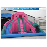 Quality Custom Pink Double Inflatable Water Slides For Toddlers Plays With Pool for sale