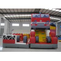 China Fire Fighting Fun City Commercial Bounce House , High Slide Big Blow Up Bounce House on sale
