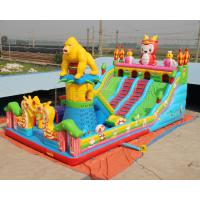 China Giant gorilla inflatable bouncer playground fun city with big slide and climbing wall on sale