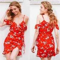 Wholesale China Clothing Manufacturers Service Womens Slip Custom Red Short Chiffon Flower Dress Mini from china suppliers