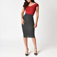 Quality Women sexy polka dot 3/4 formal skirt for sale