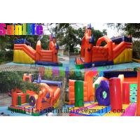 Wholesale inflatable orange 0.55mm pvc tarpaulin jumping castle from china suppliers