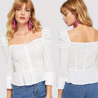 Wholesale Cotton White Embroidered Button Up Puff Sleeve Women Blouses 2018 New Designs from china suppliers