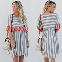 Wholesale Women Casual Striped Dresses With Color Tassel from china suppliers