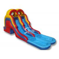 China 5 mts high double lane kids inflatable water slide with big water pool on sale