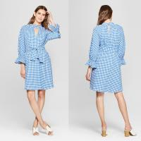Wholesale 2018 New Design Ladies Long Blouson Sleeve Blue and White Gingham Dress with Belt from china suppliers