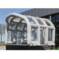 Quality 6x5mts exhibition airtight frame house inflatable stage cover tent with transparent pvc covered on top for sale