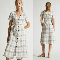 Wholesale Summer Clothing Women V Neck Midi Checked Linen Dress from china suppliers