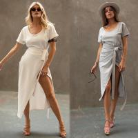 Wholesale Clothing Fashion Women White T-shirt Wrap Midi Dress with Slit from china suppliers
