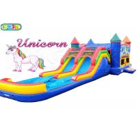 Wholesale Backyard Unicorn Inflatable Bouncer And Slide , Double Slide Bounce House from china suppliers