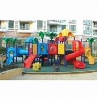 Buy cheap Outdoor Playground Equipment with UV-resistant PE Roofs and Steel Posts from wholesalers
