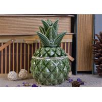 Wholesale Green Glazing Pineapple Ceramic Candle Jar with lid for wedding decor from china suppliers