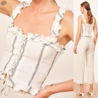 Wholesale 2018 Summer Women Clothing Ruffled Straps Linen Boho Crop Top from china suppliers