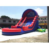 China Summer Kids / Adult Inflatable Water Slides With Blower Blue And Red on sale