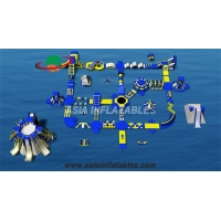 Floating Blue 50 x 40M Water Park Inflatable Water Island Park