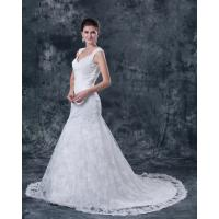 Wholesale Slim Romantic Lace open back wedding dresses Cap Sleeve wedding gowns with long train from china suppliers
