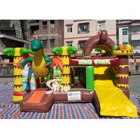 China Dinosaur Park Inflatable Bounce Slide Combo Jumping Castle With Slide For Inflatable Games on sale