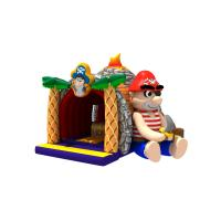 China Volcano Printing Pirate Themed Kids Inflatable Bounce House With Slide on sale