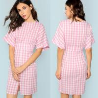 Wholesale Fall Apparel For Women Rolled Up Sleeve Wide Waistband Plaid Dress from china suppliers