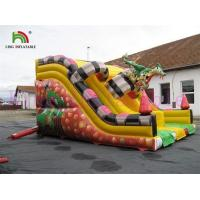 China Commercial PVC Tarpaulin Dinosaur Inflatable Dry Slide Digital Printing For Kids on sale