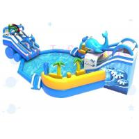 Fire Retardant Commercial Blue Shark Mobile Blow Up Water Park With Slide
