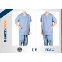 China Anti Dust Disposable Scrub Suits SMS/PP Short Sleeve Garments Breathable Comfortable on sale