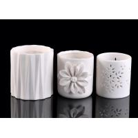Quality Embossed Vertical Stripes white ceramic pillar candle holder Round Shape for sale