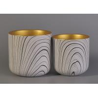Wholesale Eco - Friendly Leopard Pattern Ceramic Candle Holders With Golden Painting Inside from china suppliers