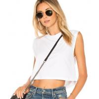 Wholesale Wholesale 100% Cotton Customized Clothing  White Sleeveless Crop Tank Top from china suppliers