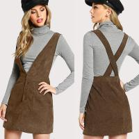 Wholesale Autumn Design Crisscross Buttoned Plunge Pinafore Corduroy Dress from china suppliers