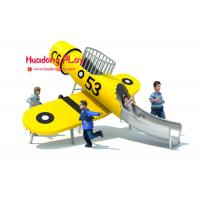 China Yellow Plane Stainless Steel Slide Wooden Outdoor Play Equipment Playground on sale