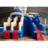 China Giant Adults Inflatable Water Slide And Pool with Ladder Commercial Inflatable Blue Sea Waves Whale on sale