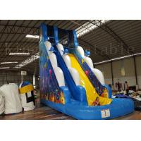 China Children / Adult Blue Inflatable Water Slide With Two Lane 1 Year Warranty on sale